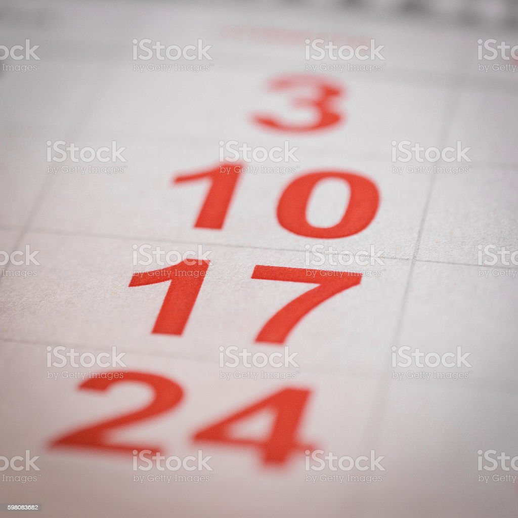 calendar seventeen output stock photo