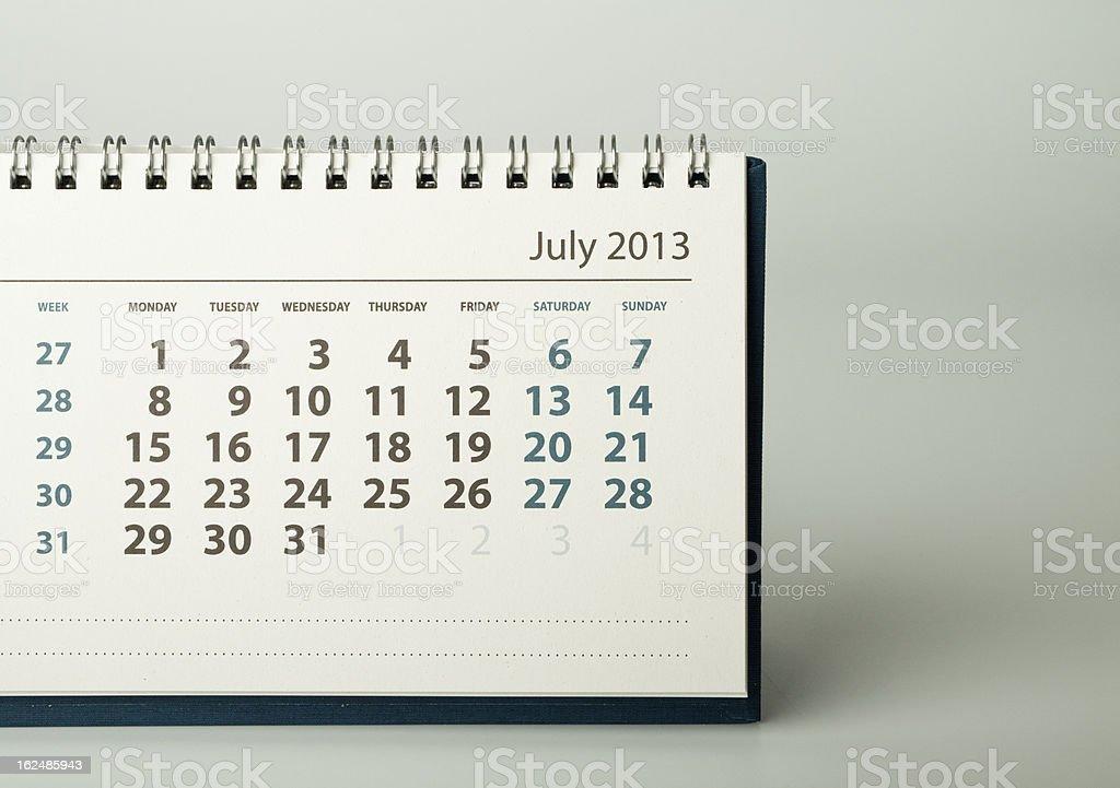 Calendar sheet. July royalty-free stock photo