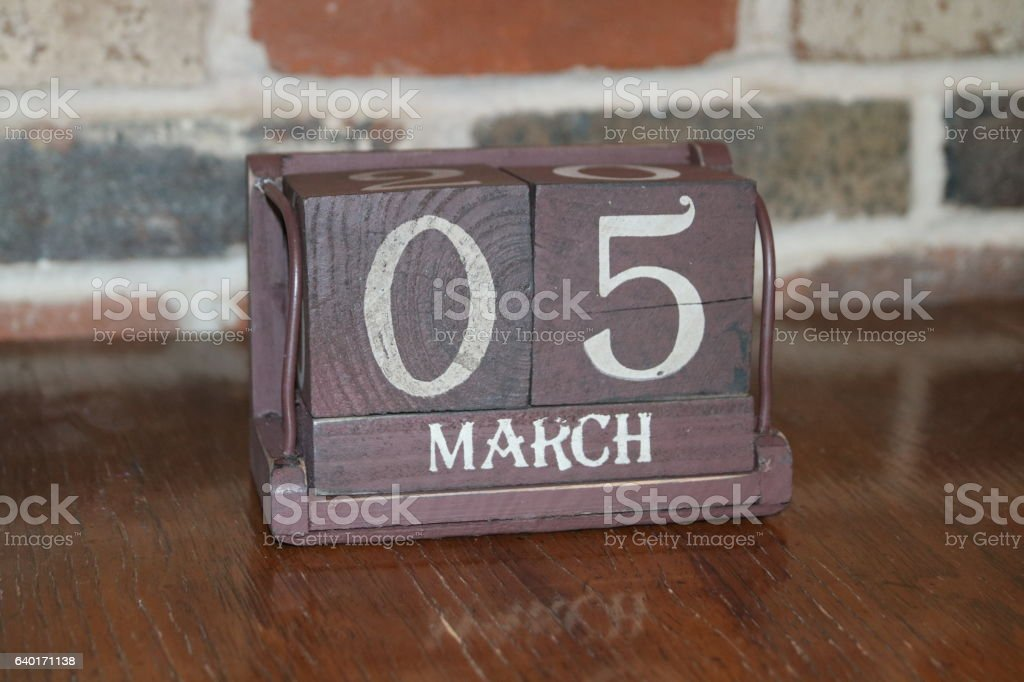 Calendar Showing the Date of March 5th stock photo