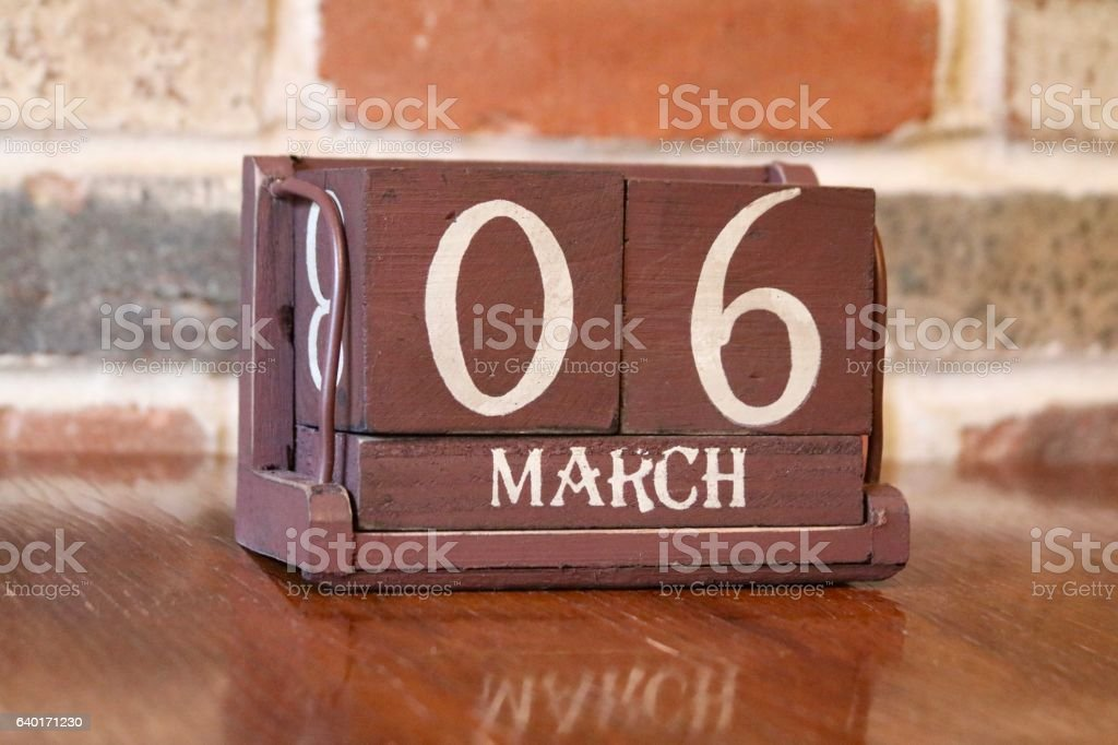 Calendar Showing the Date of March 6th stock photo