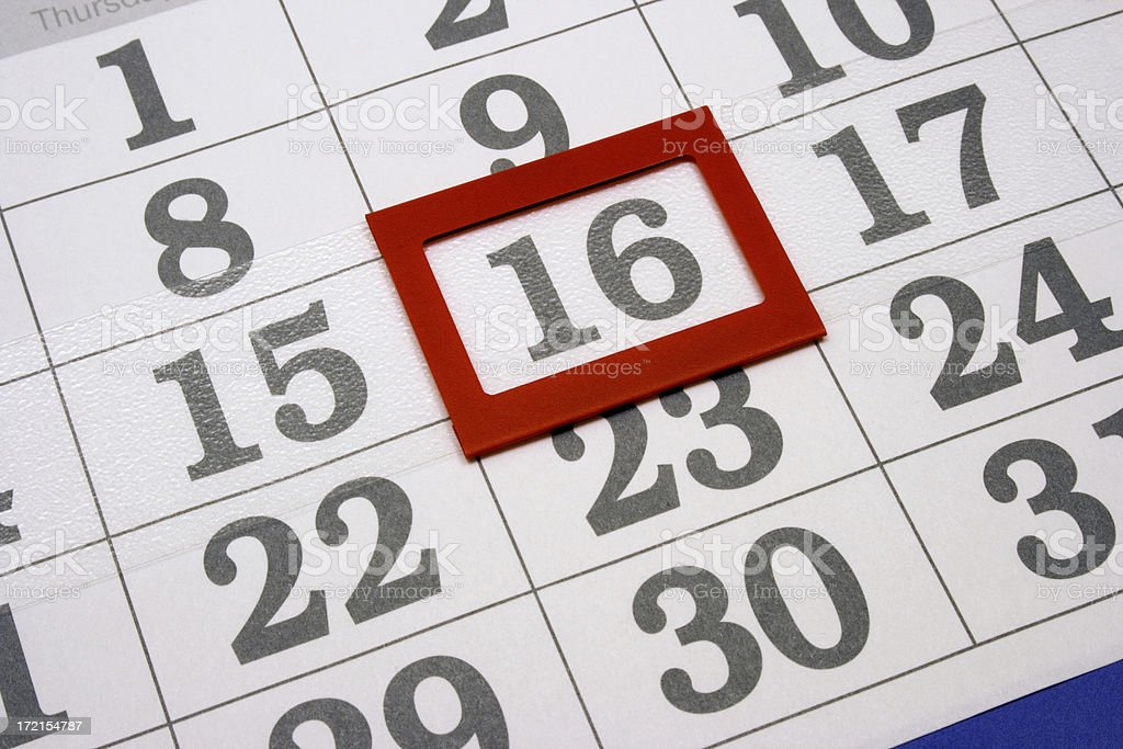 calendar the 16th day royalty-free stock photo