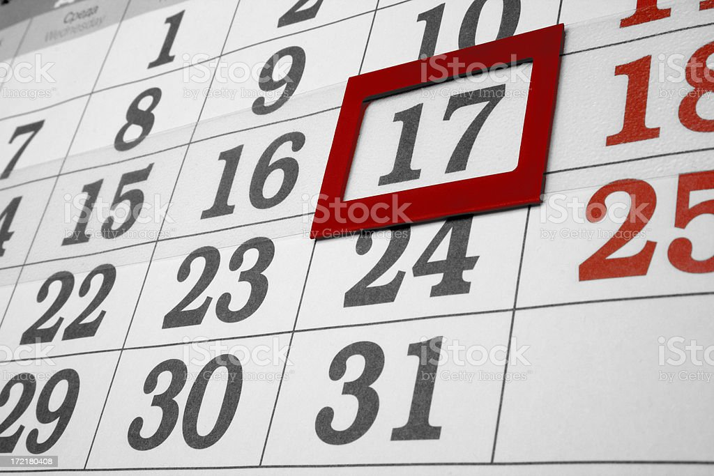 calendar the 17th day royalty-free stock photo