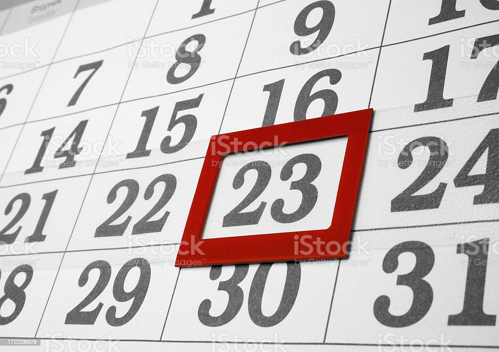 calendar the 23th day royalty-free stock photo