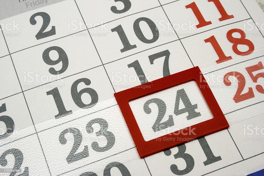 calendar the 24th day royalty-free stock photo