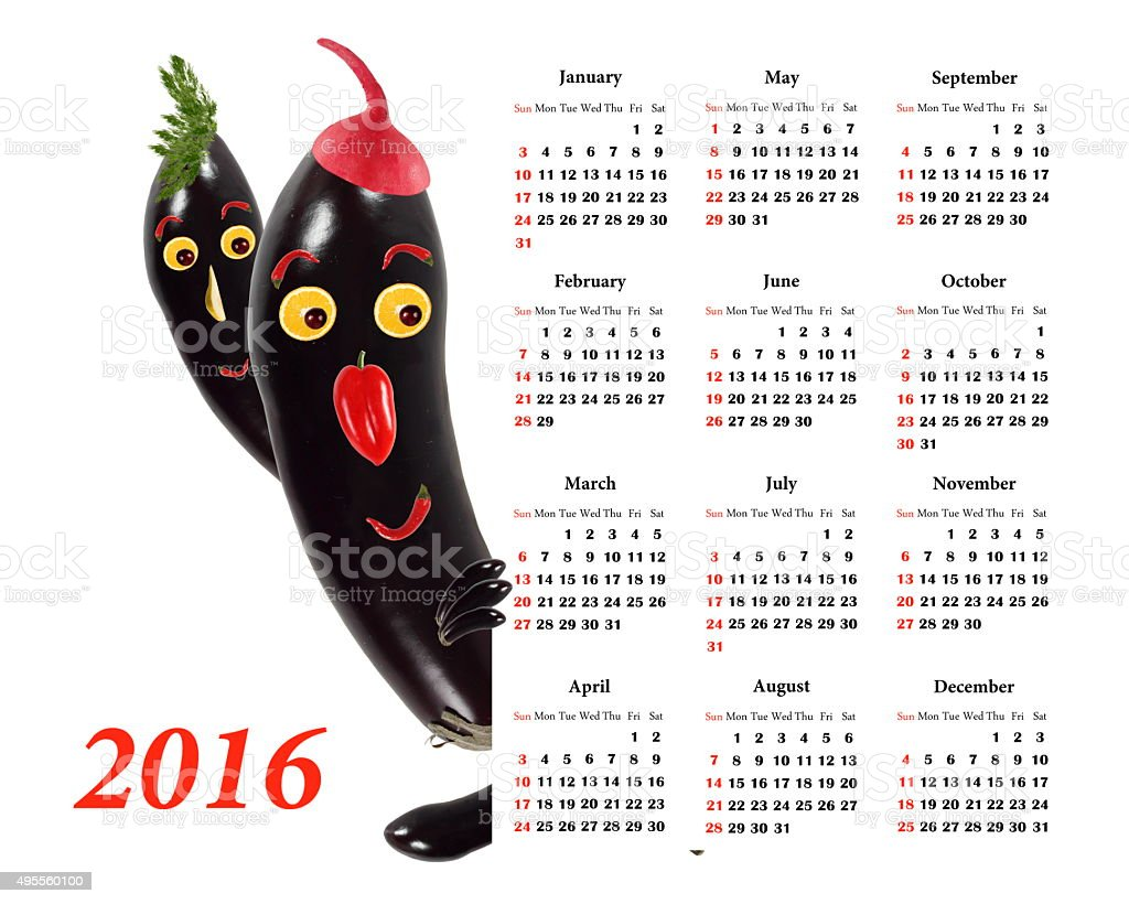 2016 Calendar.  Two Little funny  eggplants from vegetables and stock photo