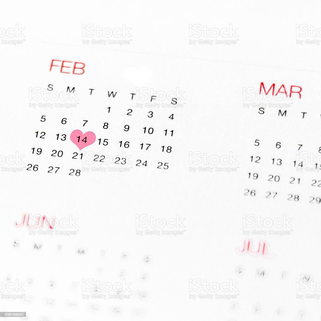 Calendar  - Valentines Day stock photo