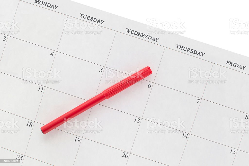 Calendar Weekdays Monday-Friday with Red Marker stock photo