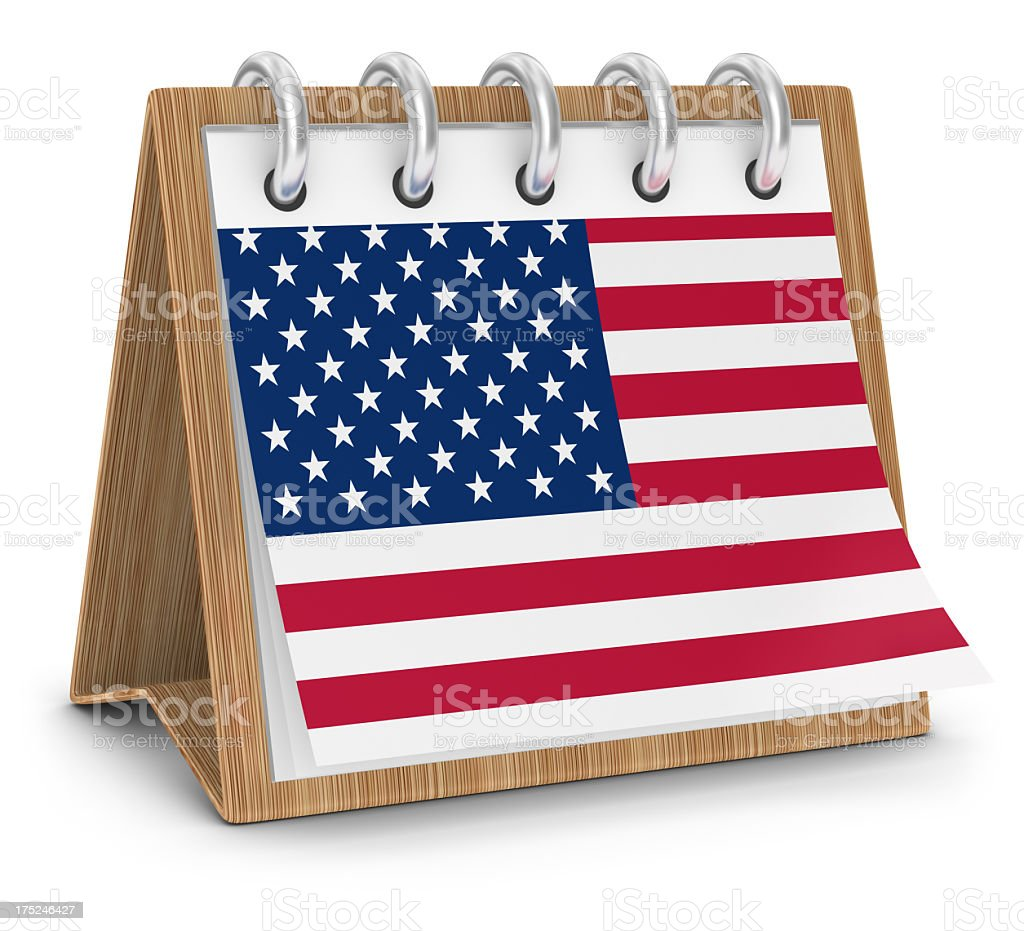 Calendar with American Flag royalty-free stock photo