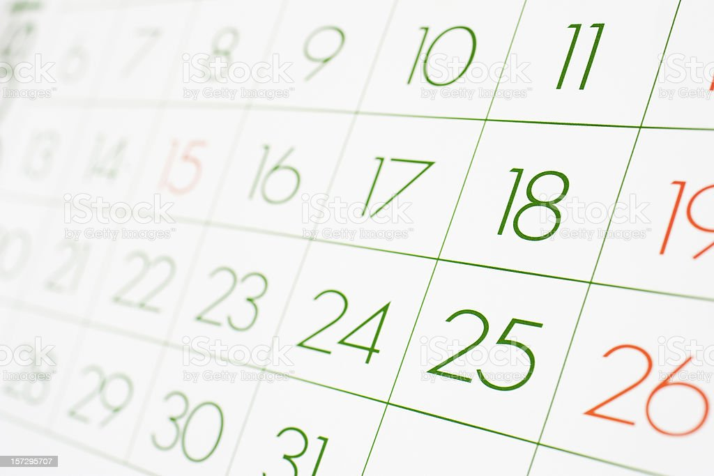 Calendar with green and red numbers royalty-free stock photo
