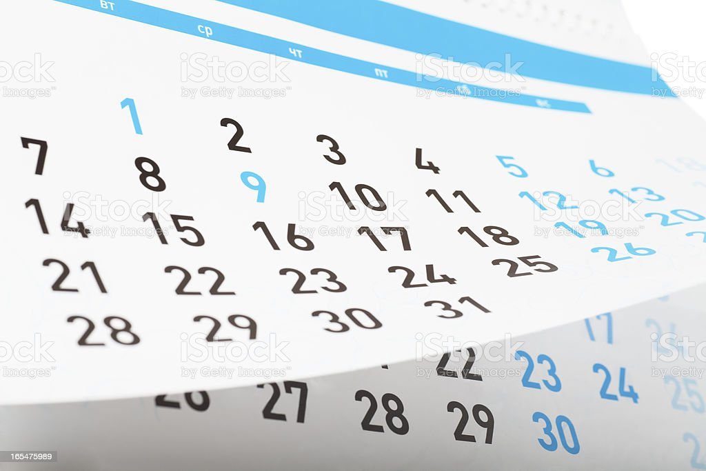 Calendar with important dates printed in blue stock photo