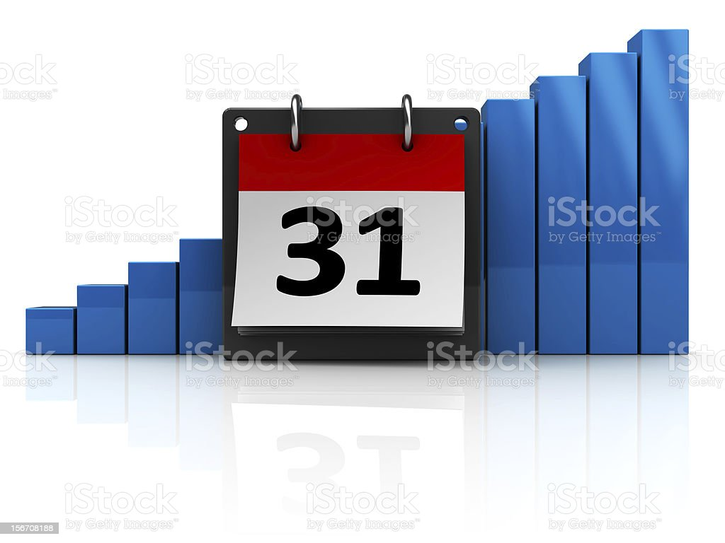 calendar with raising charts royalty-free stock photo