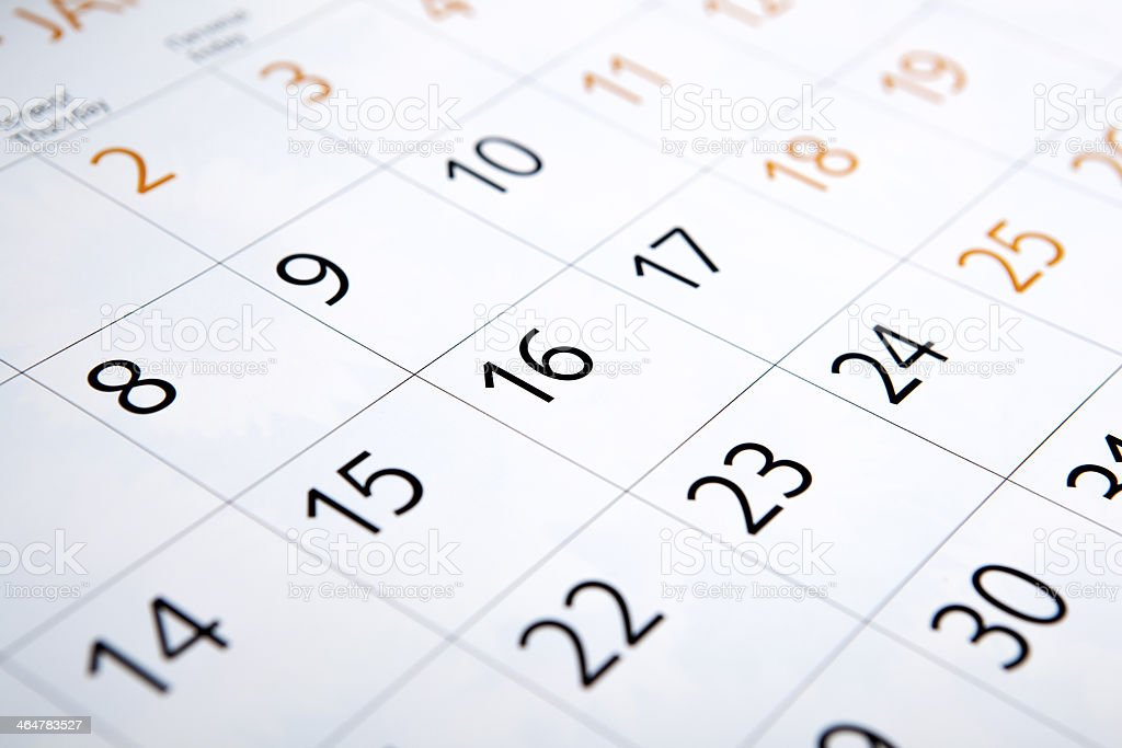 calendar with the number of days stock photo