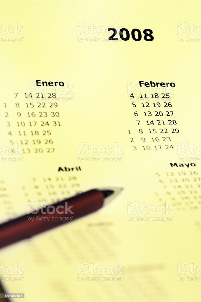 Calendario en Español royalty-free stock photo
