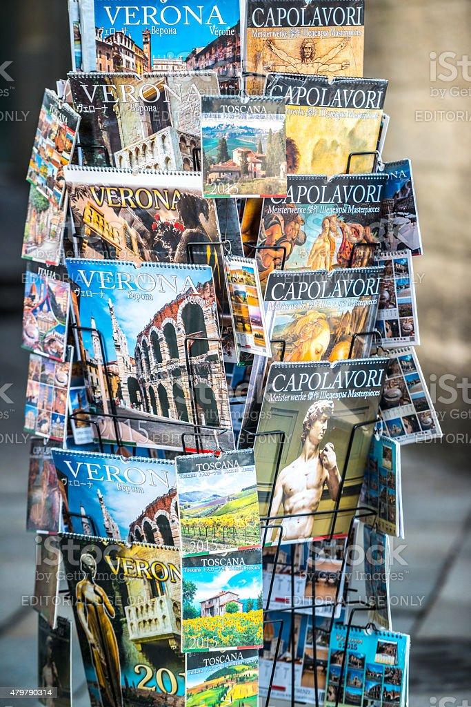 Calendars displayed for sale on Verona street, Italy stock photo