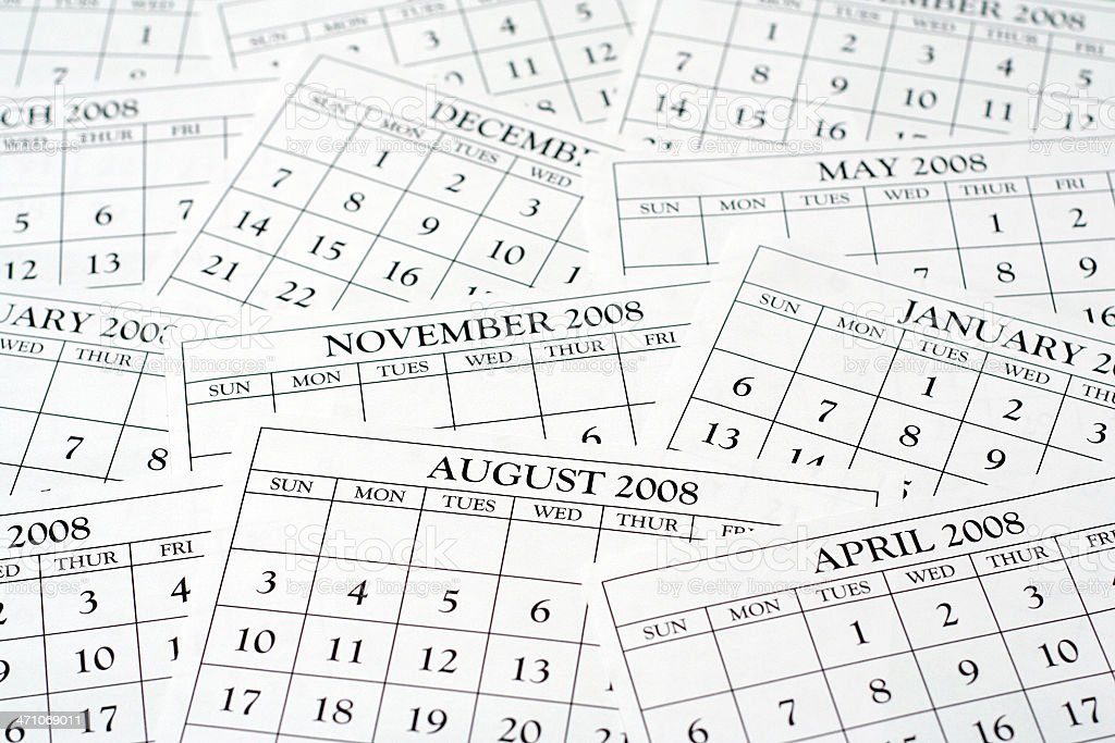 Calendars spread out 2010 royalty-free stock photo
