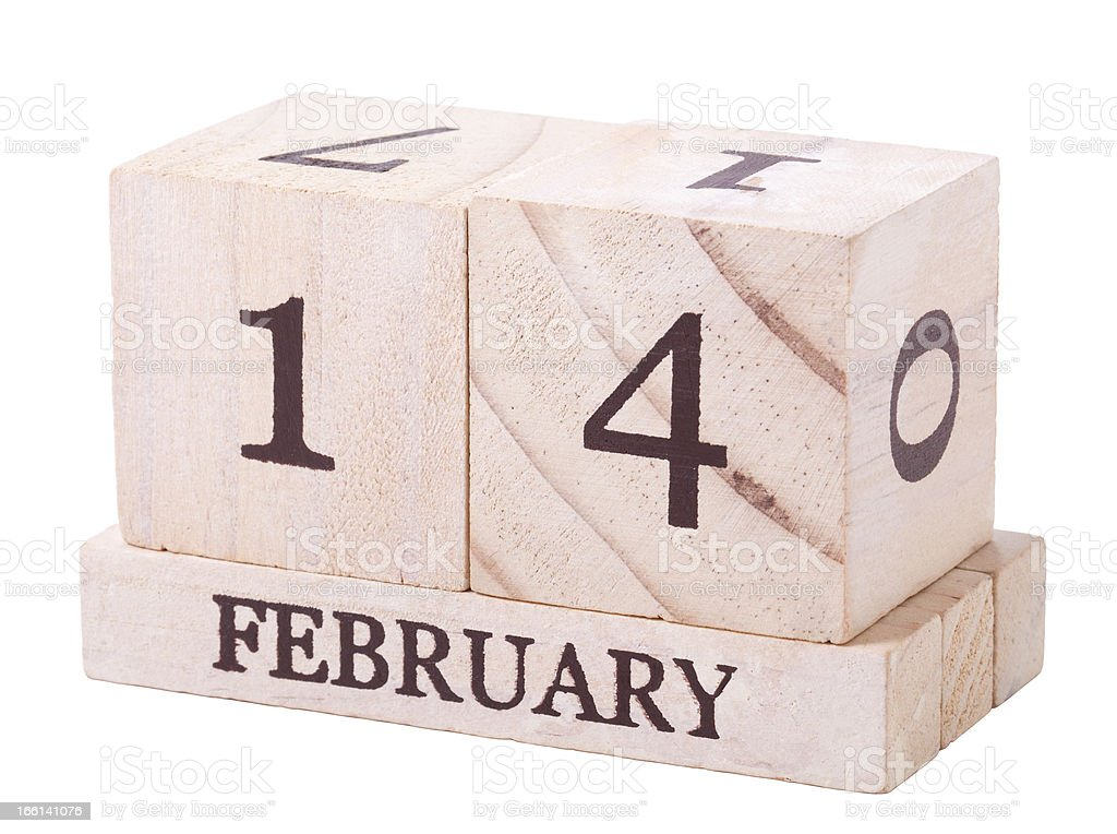Calender 14th February with clipping path royalty-free stock photo