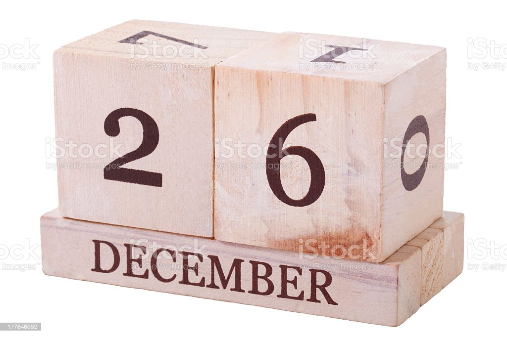 Calender 26th December with clipping path stock photo