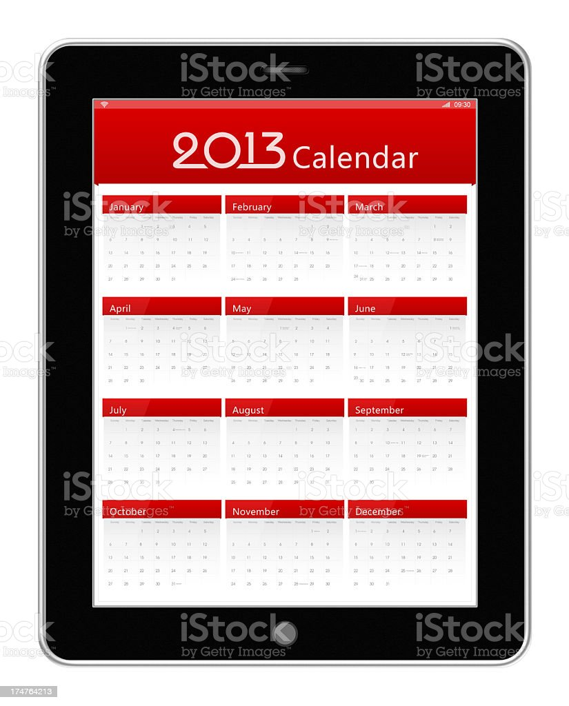 Calender of 2013 on digital tablet (clipping path) royalty-free stock photo