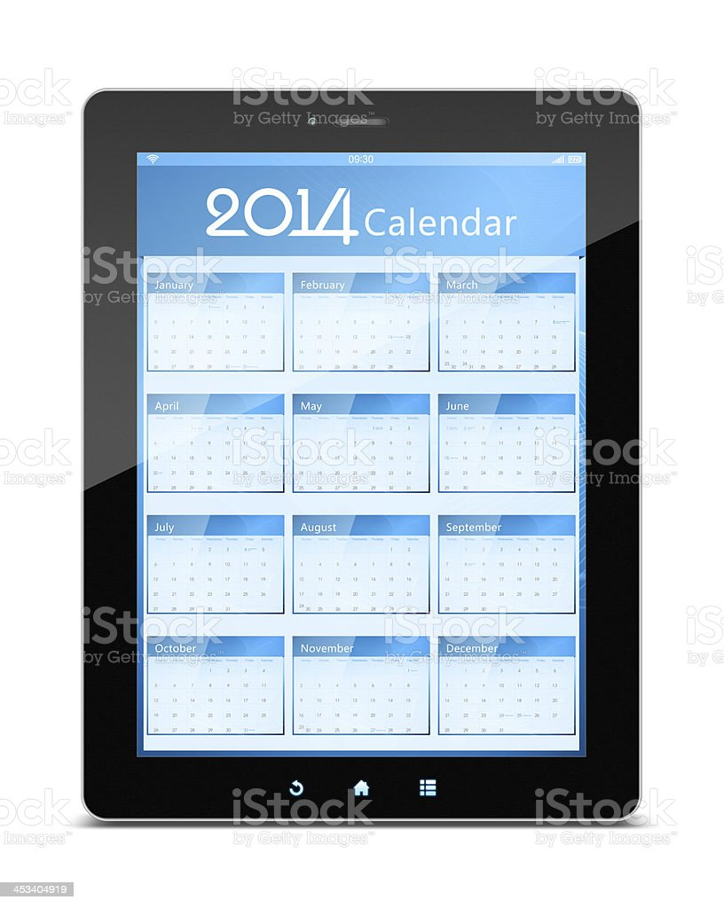 Calender of 2014 on digital tablet isolated on white background stock photo
