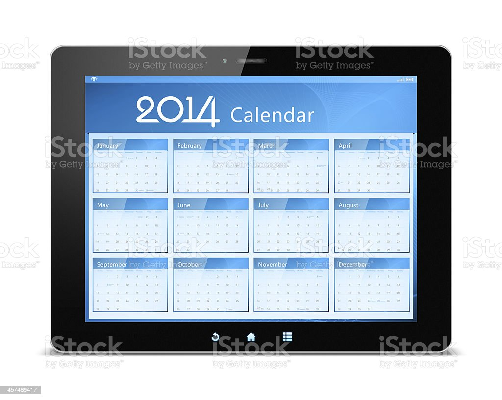 Calender of 2014 on digital tablet stock photo
