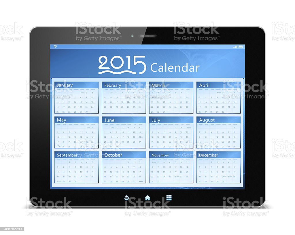 Calender of 2015 on digital tablet royalty-free stock photo