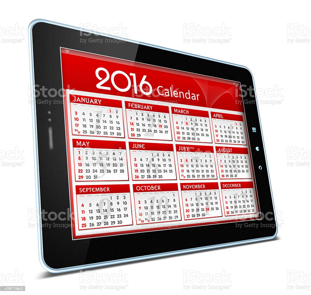Calender of 2016 on digital tablet isolated on white background stock photo