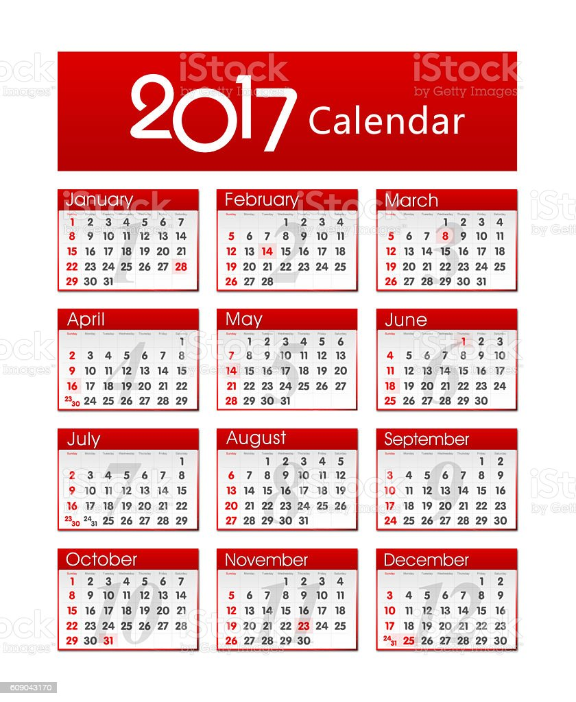 Calender of 2017 year isolated stock photo