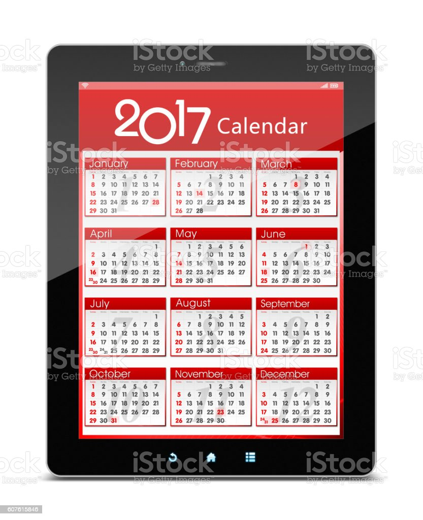 (Clipping path!) 2017 Calender on digital tablet isolated stock photo