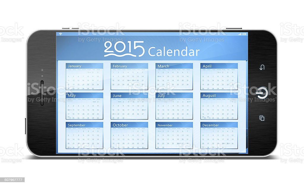 Calender on Smart Phone isolated on white background stock photo