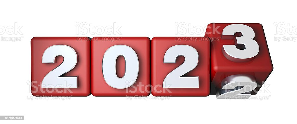 2023 Calender on the red cubes stock photo