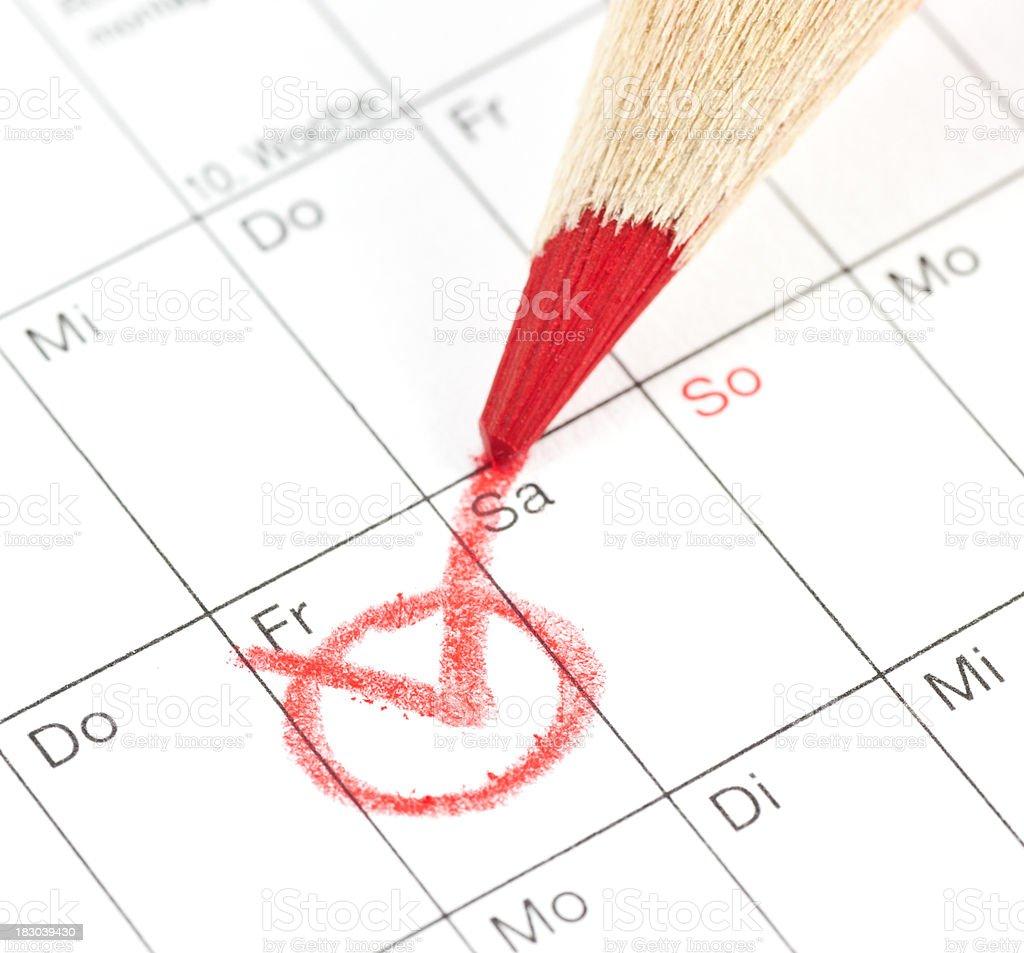 calender - Termin in deutschen Kalender rot markieren royalty-free stock photo
