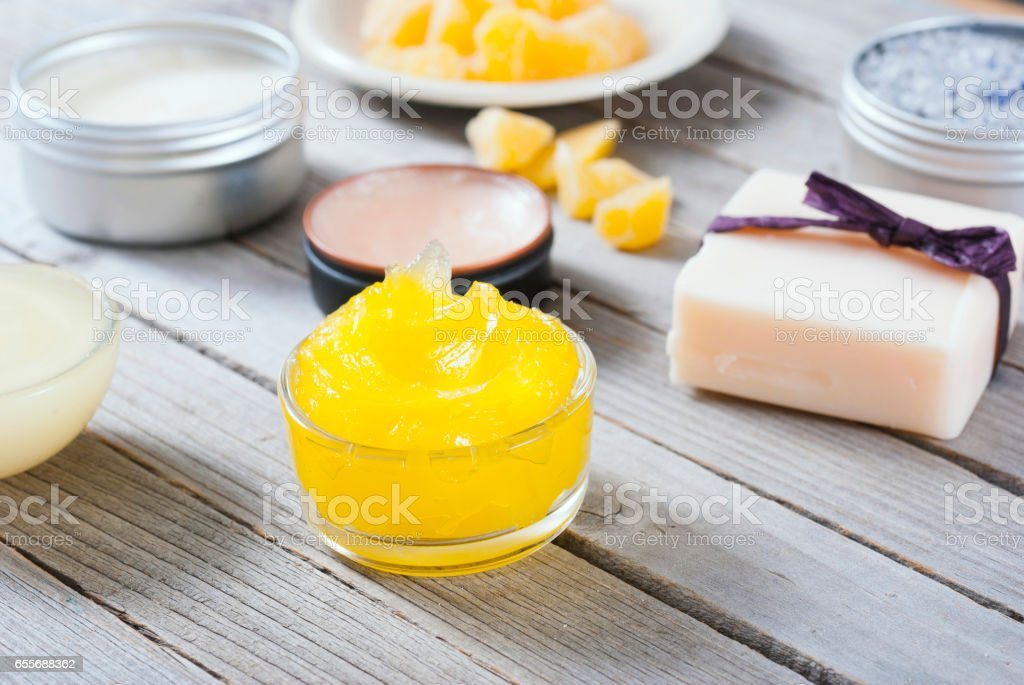 Calendula cream and other cosmetics stock photo
