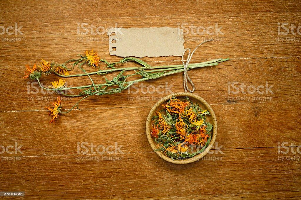 Calendula. Dried. Herbal medicine, phytotherapy medicinal herbs. stock photo