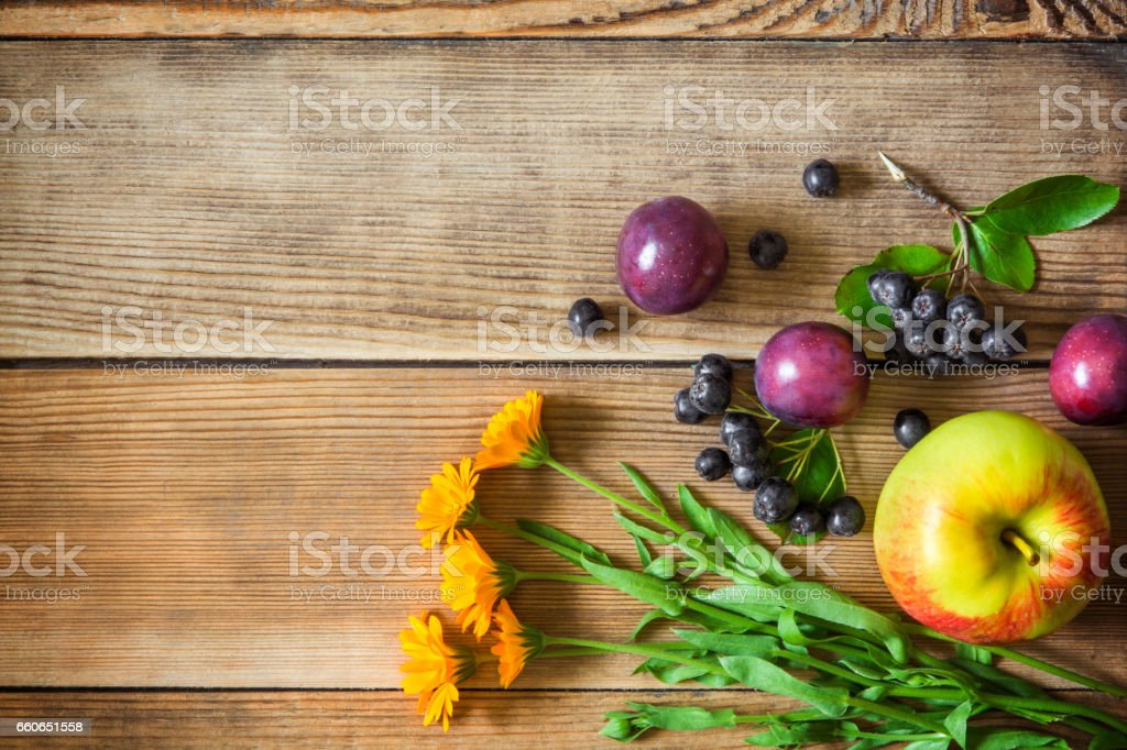 Calendula flowers and fruits on wooden background stock photo