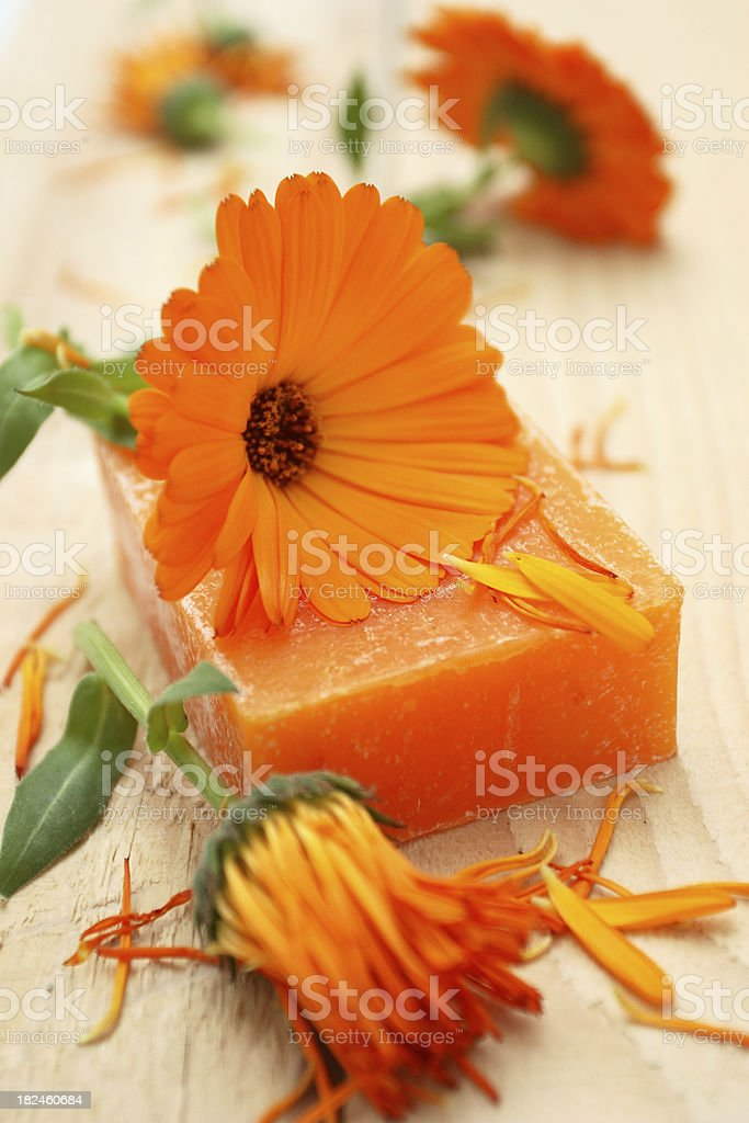Calendula soap. royalty-free stock photo