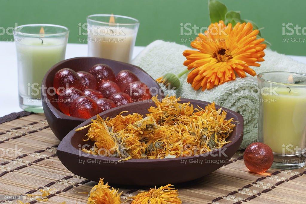 Calendula spa set stock photo