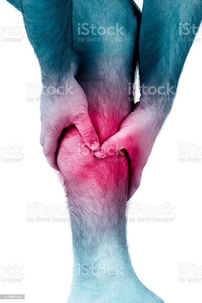 Calf leg pain, muscle injury stock photo