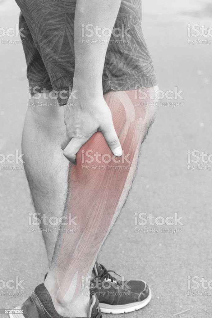 calf muscle pain stock photo