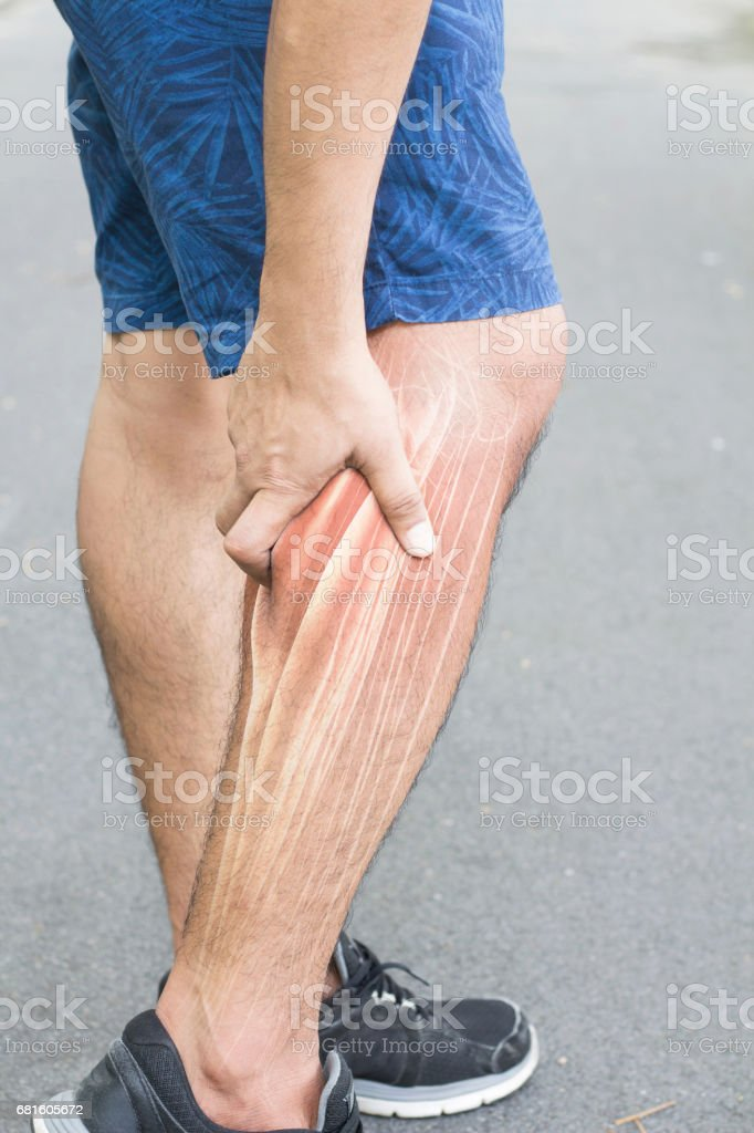 calf muscle pain stock photo