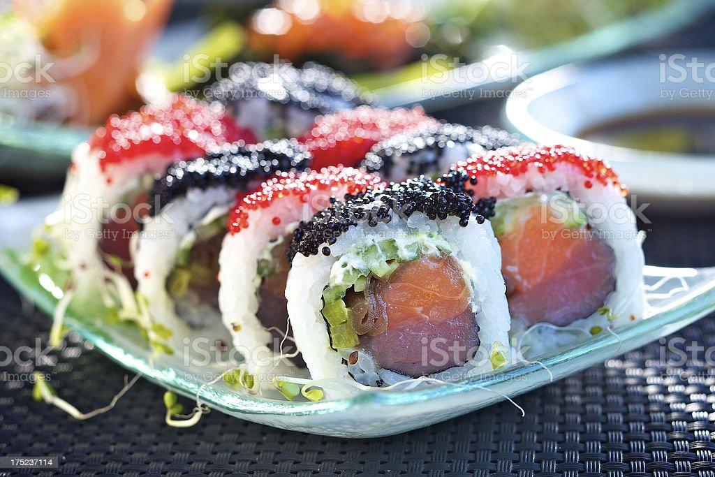 Calfornia maki with salmon and tuna royalty-free stock photo