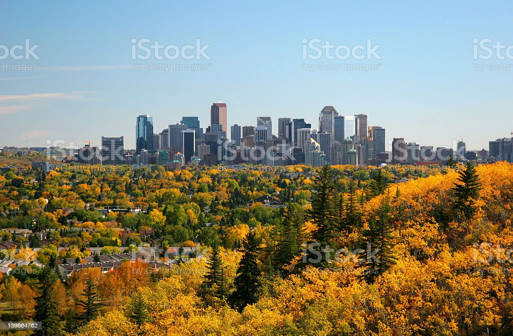 Calgary, Alberta Skyline In Autumn royalty-free stock photo