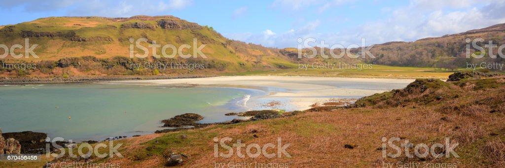 Calgary Bay Isle of Mull Argyll and Bute Scotland uk spring day panoramic view stock photo