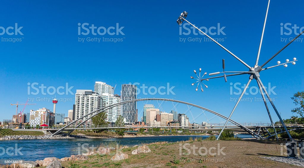 Calgary Downtown as Viewed From St. Patrick's Island stock photo