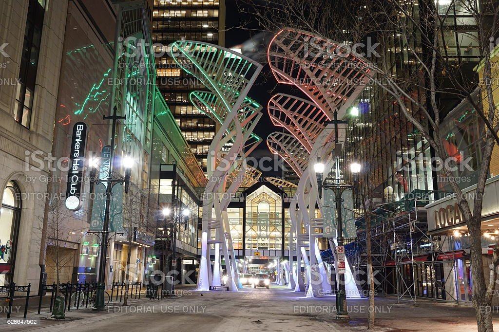 Calgary Downtown Lights in Cold Winter Morning stock photo