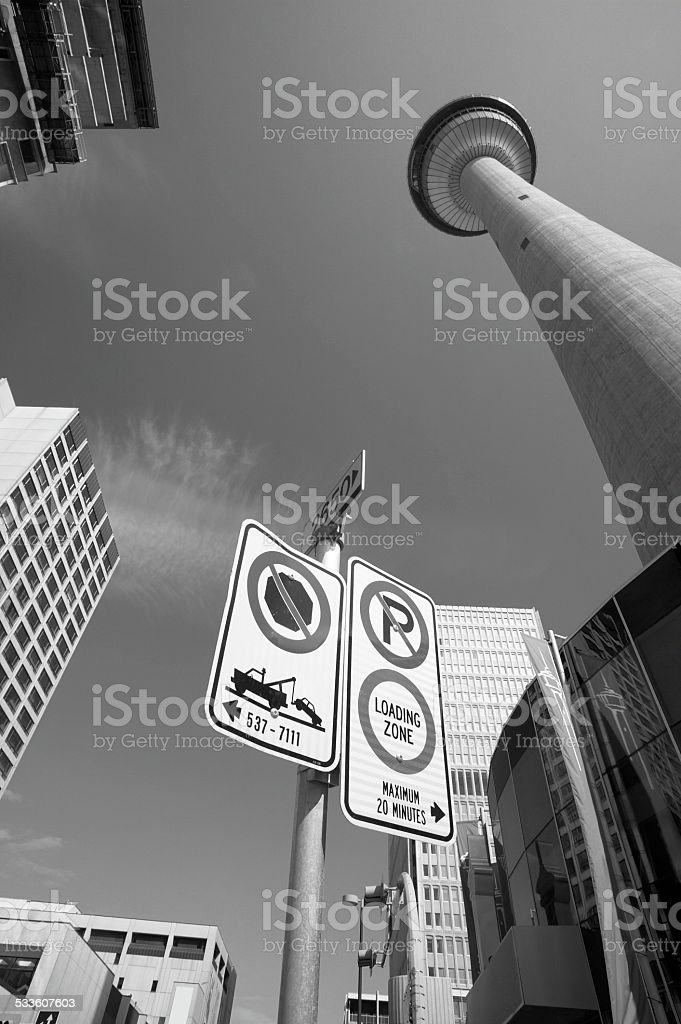 Calgary downtown view with broadcast tower in Alberta. Canada stock photo