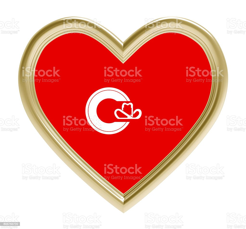 Calgary flag in golden heart isolated on white background. stock photo