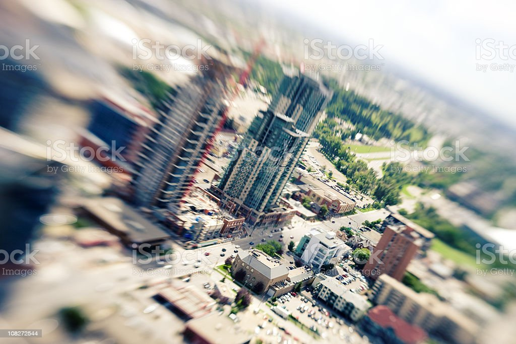 Calgary from above viewed with lensbaby stock photo