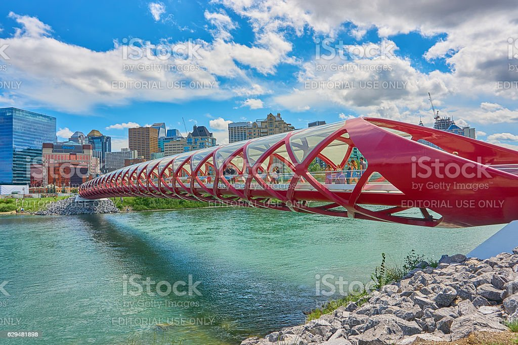 Calgary Peace Bridge in Summer in Colorful Capture stock photo