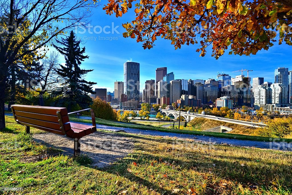 Calgary skyline from a park in autumn, Canada stock photo
