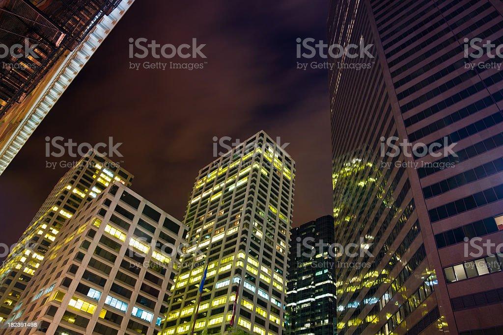 Calgary Skyscrapers at Night royalty-free stock photo